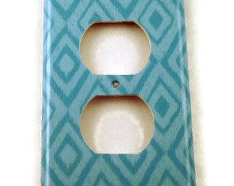 Outlet Light Switch Cover  Wall Decor Switch Plate Switchplate in  Blue Ikat  (134O)