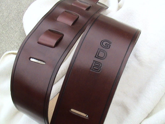 Personalized Leather Guitar strap with an Adjustable strap