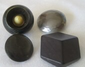 Mix Lot of 4 VINTAGE Glass Wood & Plastic BUTTONS