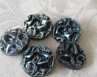 Set of 5 VINTAGE Textured Denim Blue Frosted Black Glass BUTTONS