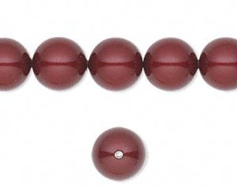 6 Bordeaux Swarovski Crystal Pearl Beads, 10mm round.