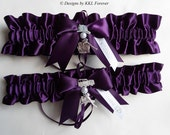 Firefighter Wedding Garters Maltese Cross Charm  Plum Purple Satin Garters