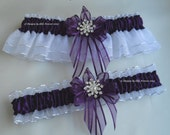 Christmas Snowflake Wedding Garters Handmade Plum Purple and White Silver Garters