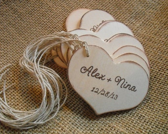 Favor Tags - SET OF 10 Personalized Rustic Wood Heart Favor Gift or Bag Tags - Item 1543