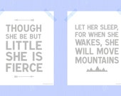 Printable Nursery Art Set 8 x 10 Though She Be But Little Let Her Sleep Daughter Quote Nursery Print Set Girl Bedroom Charcoal Gray White