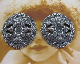 Sterling Silver Ox Plated Filigree 714SOX x2