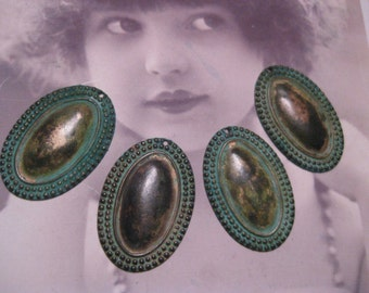 Verdigris Patina Brass Oval Ornamental Stampings  100VER  x2