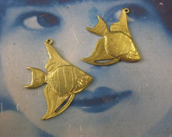 Raw Brass Angel Fish Stampings Charms Pendants 121RAW x2