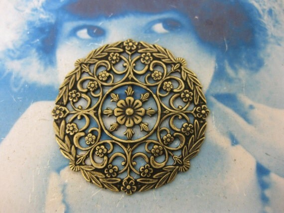 Brass Ox Plated Ornate Filigree Round Stampings 15BOX x2