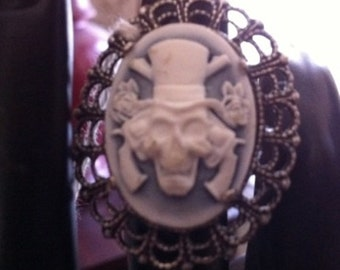 Steampunk Goth Fantasy Pirate Skull Cameo Ring
