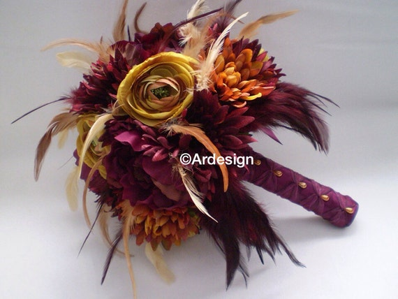 MARSALA MAIDEN  Wedding Bouquet With Feather Accents And Feather Bow