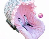 Infant Car Seat Cover, Baby Car Seat Cover in Pink & grey chevron, ruffle not included