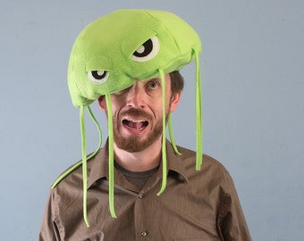 Jellyfish Hat Plush Fleece - Lime Green