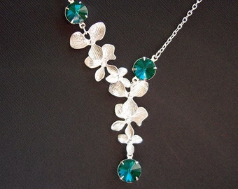 Double Orchid Cascade With Emerald Swarovski Crystals Bridal Wedding Bridesmaids Necklace.