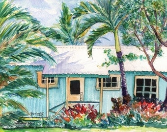 Plantation cottage art prints,  Kauai Plantation Cottages, Kauai Vacation art, Kauai art, Hawaii paintings, Hawaiian prints, old plantation