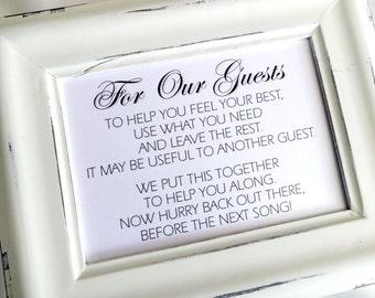 Wedding Bathroom Kit Sign wedding toiletries | etsy