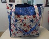 usa stars red white blue america large tote bag/purse/ diaper bag