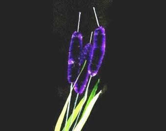 Vintage Deep Periwinkle Bottle Brush Silk Flowers - Three (3) per Stem