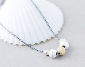 Silver Gold Necklace, Metallic Necklace, Glitter Ball Necklace, Floating Ball Necklace