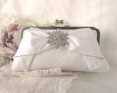 THE BOW CLUTCH silk bridal clutch with rhinestone brooch chain handle add on photo lining