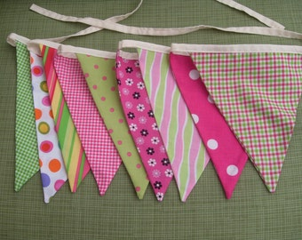 Pink and green  fabric flag banner teacher classroom nursery party outdoor bunting