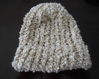 Knitted infant/doll hat tan/light brown