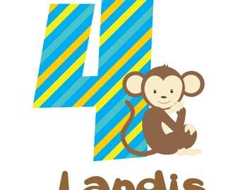 Monkey Birthday Shirt or Bodysuit - Personalized Birthday Shirt