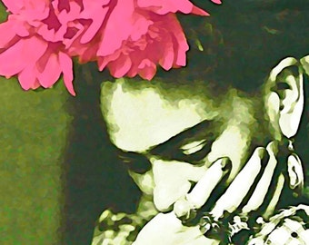 Frida Kahlo Art Instant Digital Download Frida Watercolor Print Mixed Media Original Photomontage Small to Poster Green w Pink Painting