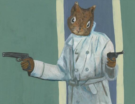 The Heist.  Original painting by Vivienne Strauss.