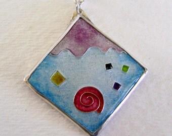 Cloisonne enamel jewelry pendant necklace.