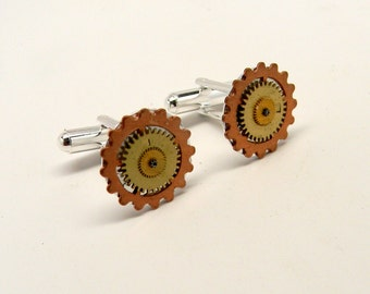 Steampunk jewelry cufflinks with gears.