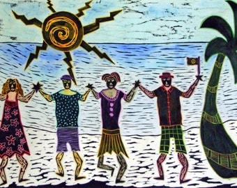 "Woodblock print "" Beach Dancers "". Printmaking. Hand pulled print. Hand colored print."