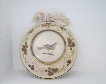 Tin Plate Metal Toleware With Bird Illustration Litho Wall Decor - Bubble Glass - Earthy & Muted Colors Country Cottage Chic