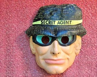 Vintage 1970s Plastic Secret Agent FBI Men In Black Mask