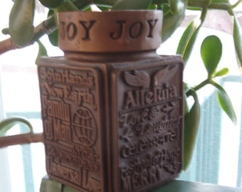1977 Abbey Press Religious Universal Love JOY Candle Holder