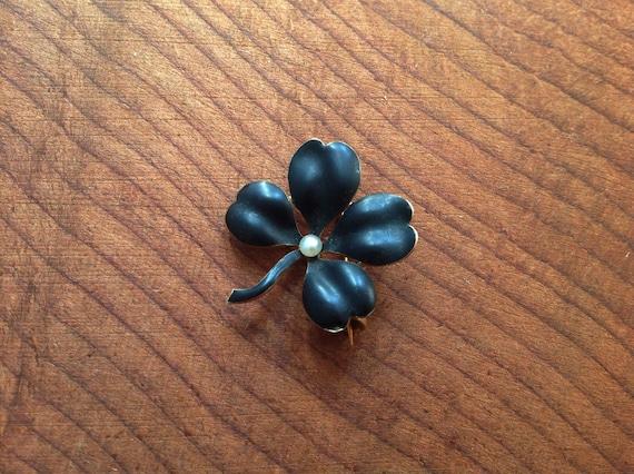HOLD Antique 14K Gold Enameled Clover Pin.