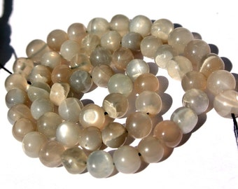 Full 14 Inches - 6-6.5mm Genuine Gray Moonstone Smooth Polished Round Beads Wholesale Price