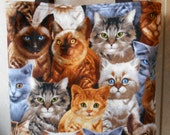 Cat Cats Tote Bag Tabby Gray Siamese White Orange Handmade Purse Limited