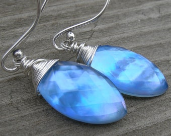 Cobalt Blue Topaz Mother of Pearl Doublet Sterling Silver Earrings