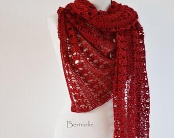 Lace crochet shawl, red,  cotton,  K113