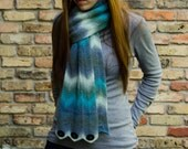 Scarf Knitting Pattern - Fingering Weight Chevron Striped Scarf Cowl - Gazania Scarf