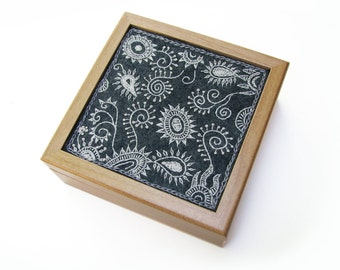 Protozoa Box, Embroidered Jewelry Box, Gray Wool Felt Embroidery, Black and White Microorganisms