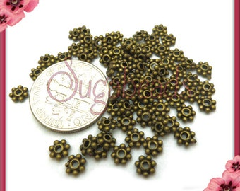 100 Antiqued Brass Daisy Spacers 4mm DS7