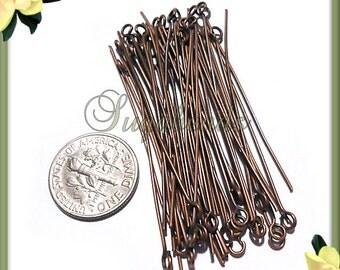 300 Antiqued Copper Eye Pins 50mm 21 Gauge