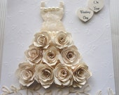 wedding dress card Hand sewn hand quilled floral