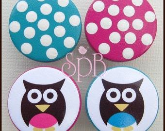 Owl Knobs • Polka Dots • Hot Pink • Teal • Woodland Owl • Dresser Knobs • Drawer Pulls • Baby Nursery