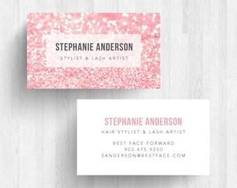 250 or 500 Custom Glitter Business Card Calling Card Makeup Artist Card
