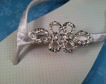 So Sweet Bride Nanette Deluxe Rhinestone Bridal Wedding Flip Flops