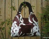 Retro Style Russet Cotton Handbag Amy Butler August Fields with Wooden Handles and Snap Closure