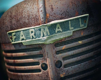 Tractor photography, Art For Kitchen, Farmall print, wall decor, wall hanging, wall art Red Rust Decor, farm print rustic decor - photograph